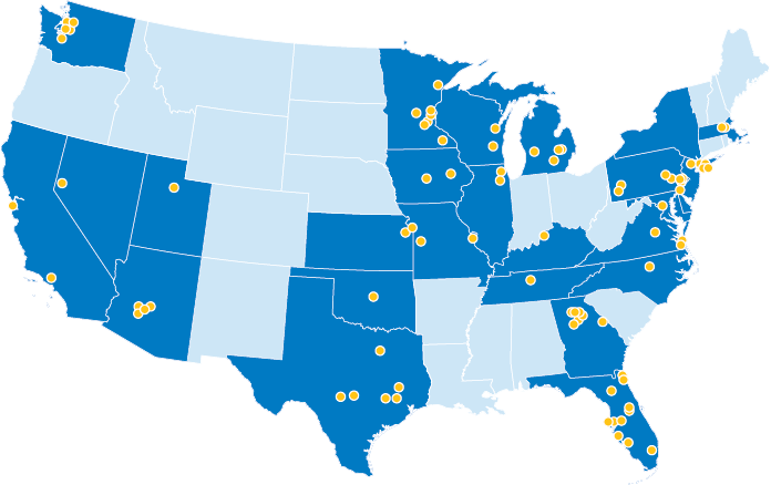map of united states showing all BluePearl locations