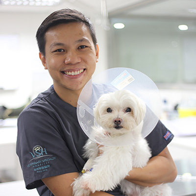 A veterinarian posing with a happy and healthy dog